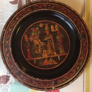 Vintage Wooden Inlaid Egyptian Wall Hanging